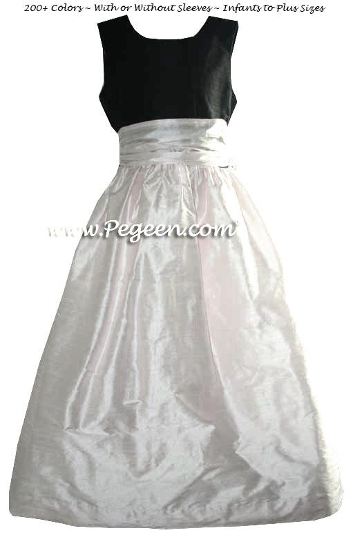 Black and Blush Pink for an Elegant Custom Silk Flower Girl Dresses Style 388