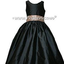 Pewter Gray and Blush Pink Silk Jr Bridesmaids Dresses