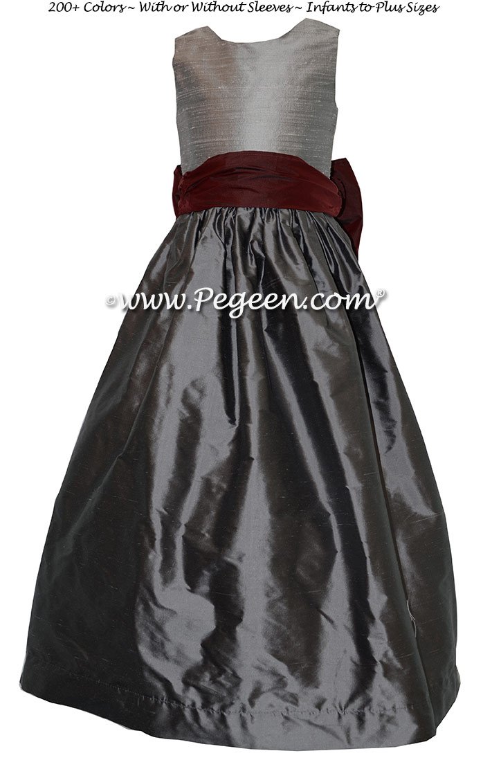 Custom Burgundy And Silver Gray Jr Bridesmaids Dresses In