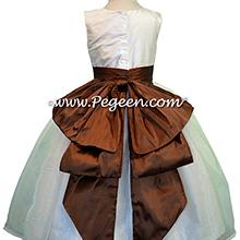 chocolate and white custom flower girl dresses
