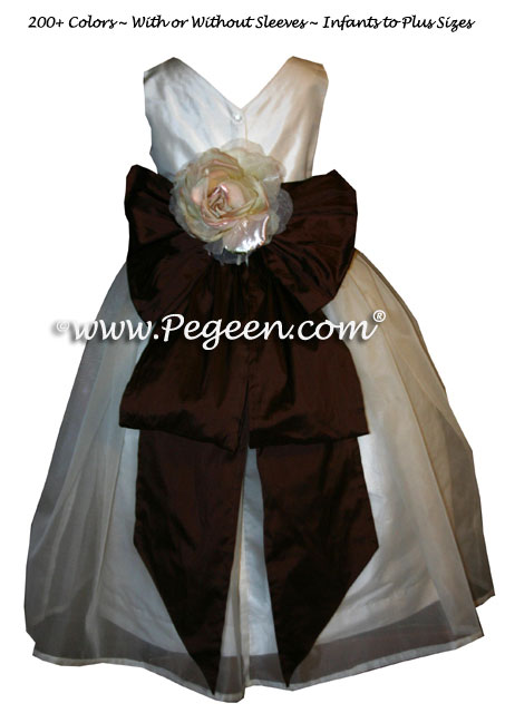 chocolate brown and ivory FLOWER GIRL DRESSES with large flower