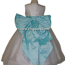 Antique White and Pond Blue Silk Flower Girl Dresses by PEGEEN
