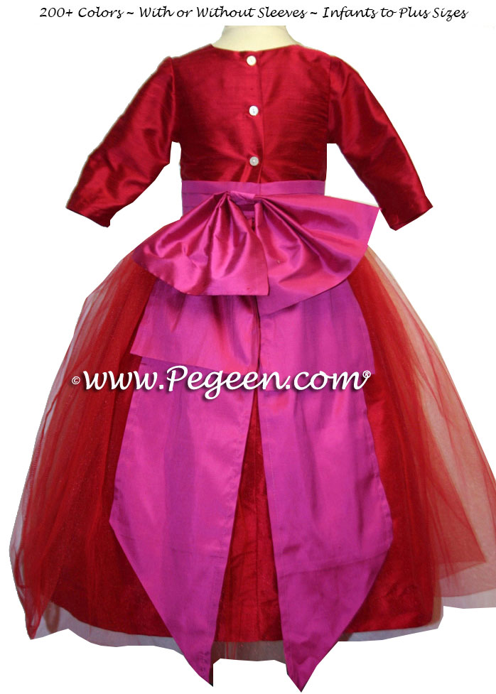 Red Silk Infant Holiday Dress 394