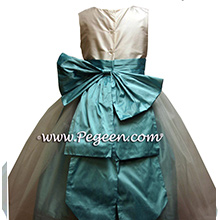 Tiffany Blue and New Ivory Silk Flower Girl Dresses - PEGEEN