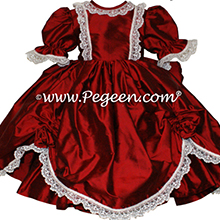 CLARET RED SILK DRESS FOR FLOWER GIRL by Pegeen Style 397