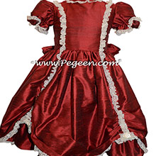 Claret SILK DRESS FOR FLOWER GIRL by Pegeen Style 397