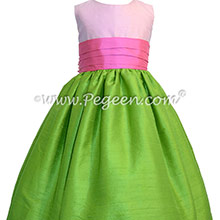 APPLE GREEN SHOCK AND BUBBLEGUM Flower Girl Dresses - APPLE GREEN SHOCKING PINK AND BUBBLEGUM FLOWER GIRL DRESSES - PEGEEN