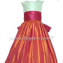 FLOWER GIRL DRESSES IN LIPSTICK PINK AND MANGO BY PEGEEN
