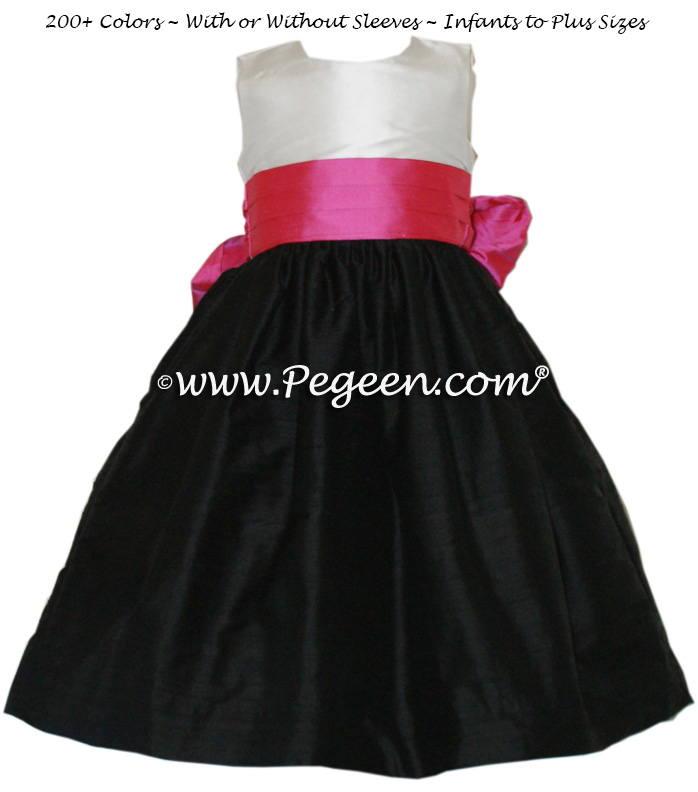 flower girl dresses hot pink and black discount wedding