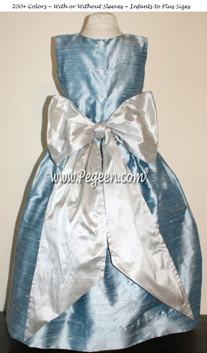 Jim Hjelm Matching Flower Girl Dress by Pegeen in Caribbean Blue and Platinum silk