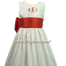 Monogrammed silk flower girl dresses in Christmas Red and New Ivory