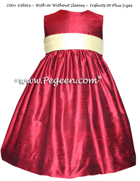 Claret red and buttercreme yellow custom flower girl dresses