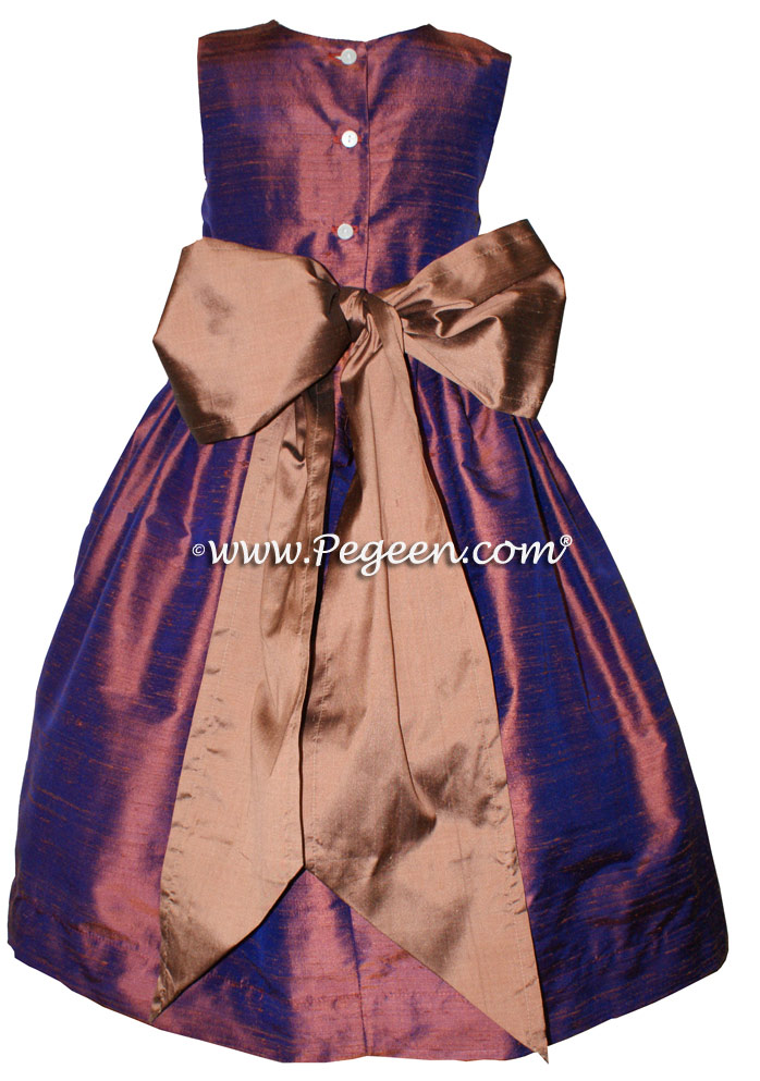 Silk Copper and Raisin Jim Hjelm matching flower girl dresses