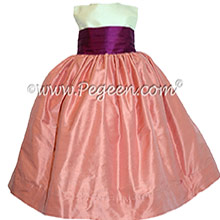 Ivory, Coral Rose & Berry Silk Cinderella Style Bow FLOWER GIRL DRESSES