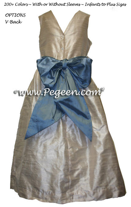 CUSTOM TOFFEE AND FRENCH BLUE FLOWER GIRL DRESSES
