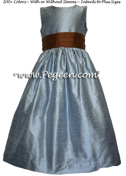 Custom silk french blue and chocolate brown flower girl dresses