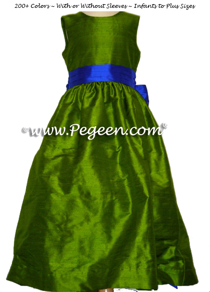 FLOWER GIRL DRESSES in grass green and saphire blue