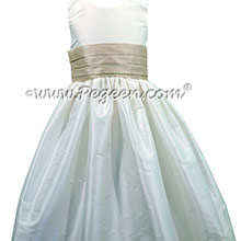 Antique White and Oatmeal silk Flower Girl Dress - Style 398