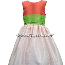 Blush Pink, Tomato Red and Apple Green Custom Silk FLOWER GIRL DRESSES