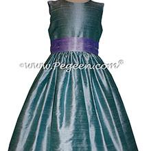 Adriatic aqua and Lilac silk Flower Girl Dresses by Pegeen