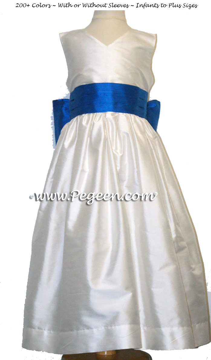NEW IVORY AND MALIBU SILK CUSTOM FLOWER GIRL DRESSES