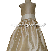 Oatmeal and Bisque silk Flower Girl Dresses by Pegeen