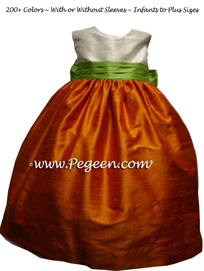 Pumpkin, White and Apple Custom Flower Girl Dress Style 398 | Pegeen