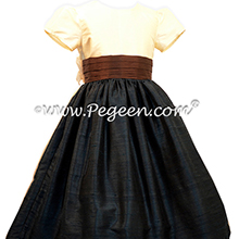 Pewter Gray and Chocolate brown Silk flower girl dresses Style 398 by Pegeen