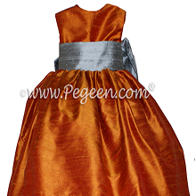 Custom Flower Girl Dresses in Silver Gray and Pumpkin Silk Style 398 by PEGEEN