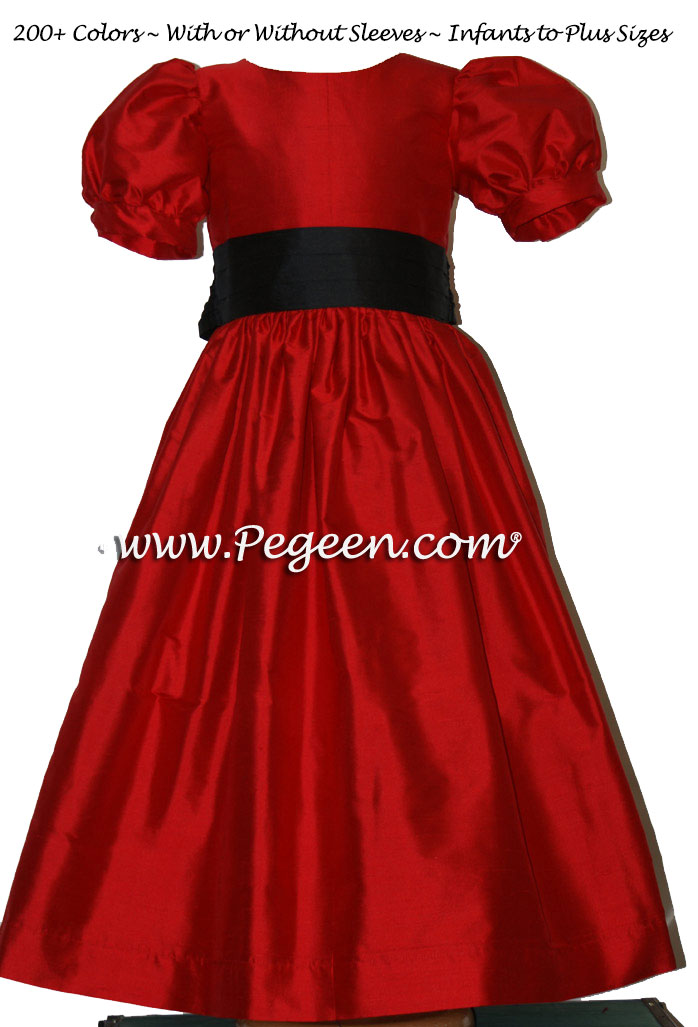 Red And Black Flower Girl Dresses