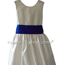 Antique White and Sapphire Blue Flower Girl Dresses 398