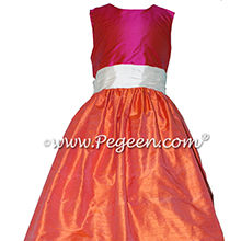 Shock Pink, Mango and Antique White silk Flower Girl Dress - Pegeen Style 398