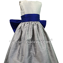 Custom flower girl dresses in Silver Gray, Platinum Gray and Blue Indigo Style 398 from Pegeen