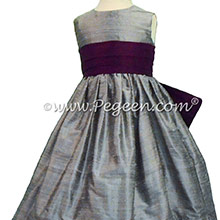 FLOWER GIRL DRESSES Silver Gray and Eggplant with Self-Tie Bow Style 398