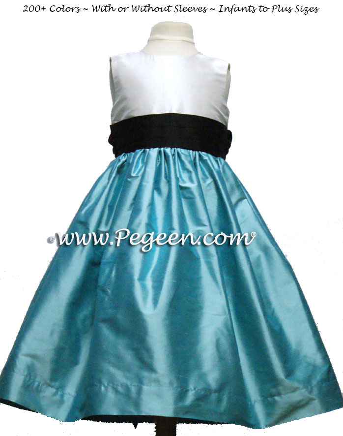 TIFFANY BLUE, AQUA and BLACK flower girl dresses