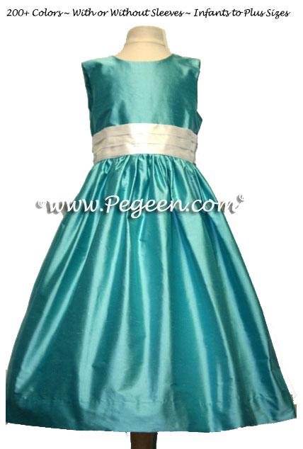 Tiffany Blue Custom Silk Flower Girl Dresses