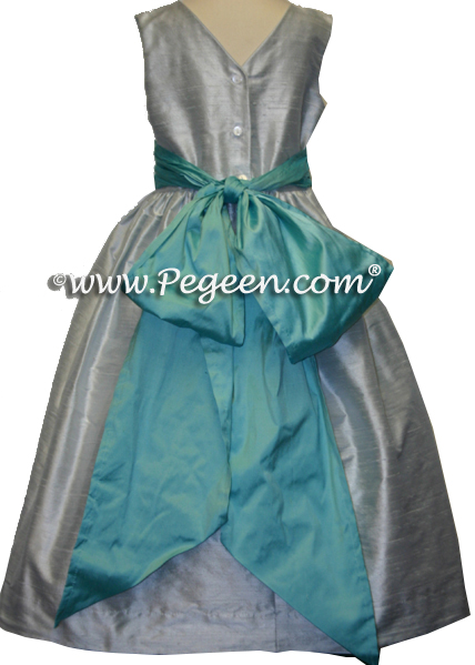 PLATINUM GRAYCUSTOM FLOWER GIRL DRESSES