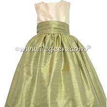 Sage and wheat Silk Flower Girl Dresses by PEGEEN