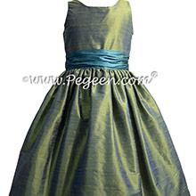 Winter Green and Juniper Silk Jr Bridesmaids Dresses