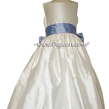 Antique White and Wisteria (Light periwinkle) silk Flower Girl Dress - Style 398