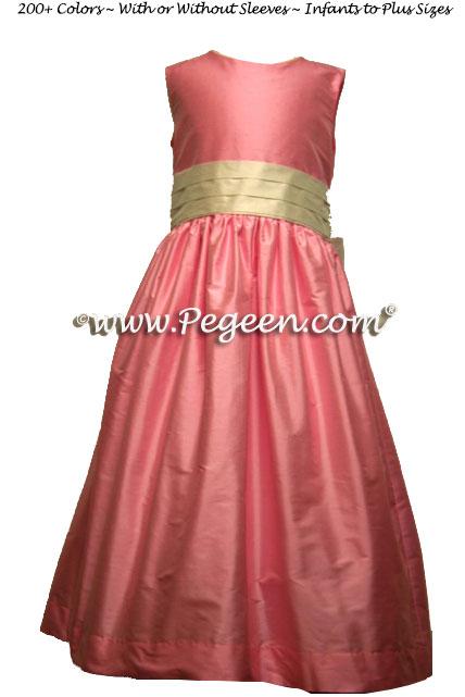 Bubblegum Pink Custom Silk Flower Girl Dresses