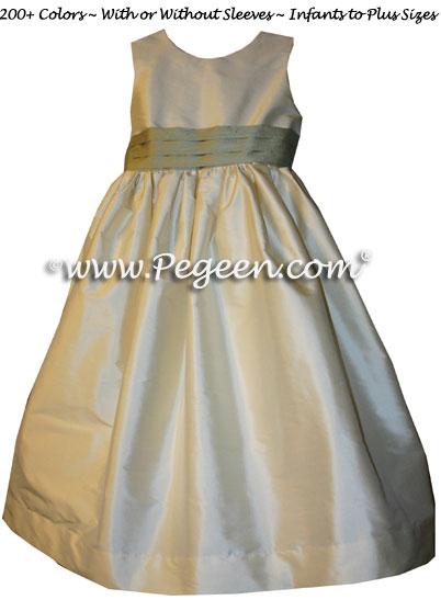 BUTTERCREME AND CELERY SILK CUSTOM FLOWER GIRL DRESSES