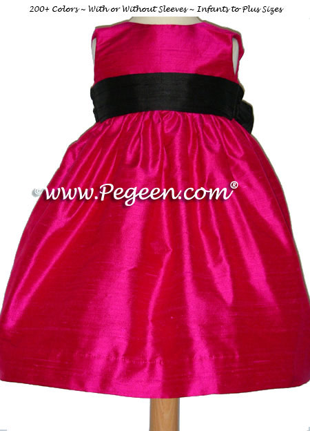 Lipstick pink and Black flower girl dresses