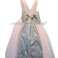 Flower Girl Dresses in Baby Pink and Platinum with V-Back and Crystal Tulle