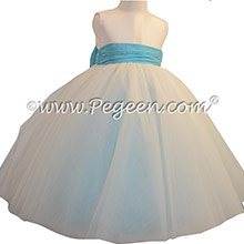 New Ivory and Bahama Breeze Silk and Tulle Silk Style 402 Flower Girl Dresses