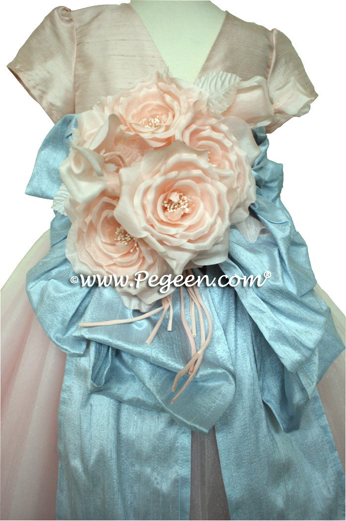 Ballet Pink and Cloud Blue ballerina style Flower Girl Dresses with layers of crystal tulle