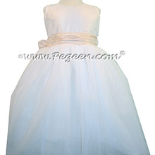 Antique White Silk and Bisque Tulle ballerina style Flower Girl Dresses