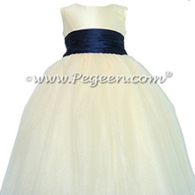 Silk FLOWER GIRL DRESSES Navy Blue and Bisque with Ivory Crystal tulle