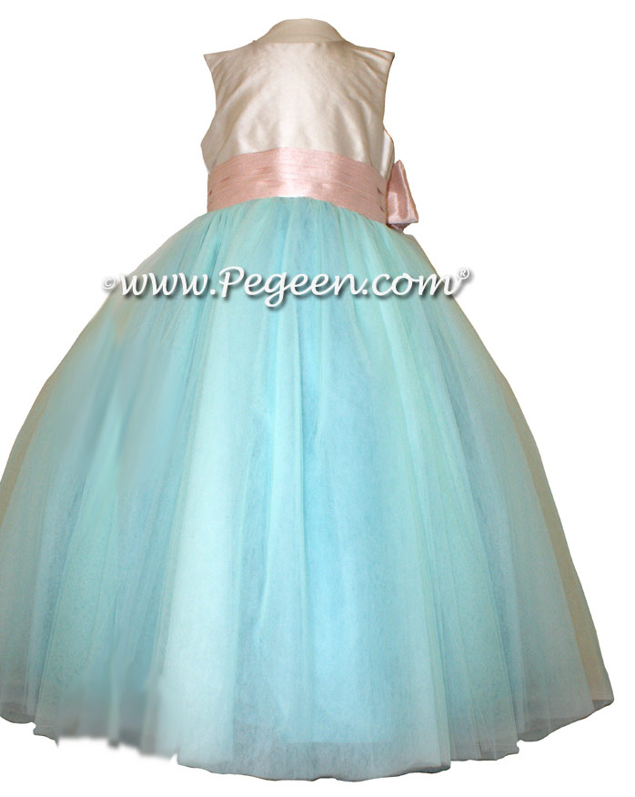 Custom Tulle Flower Girl Dress In Tiffany Blue And Blush Pink
