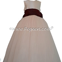 Champagne Pink and Ruby Red ballerina style FLOWER GIRL DRESSES